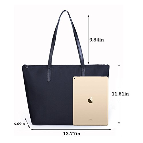Waterproof Shoulder Stylish Bag Oxford Satchel Large Tote Capacity for Lady Black Lecxci Women Bag Nylon Office 8AvwPE