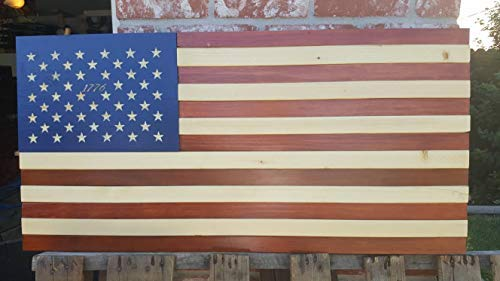 weewen American USA Wood Flag Red White Blue Betsy Ross Hand Printed Stars Patriotic Rustic Wooden Fourth of July Gift Housewarming Door Hanger Sign Home Decor Plaque