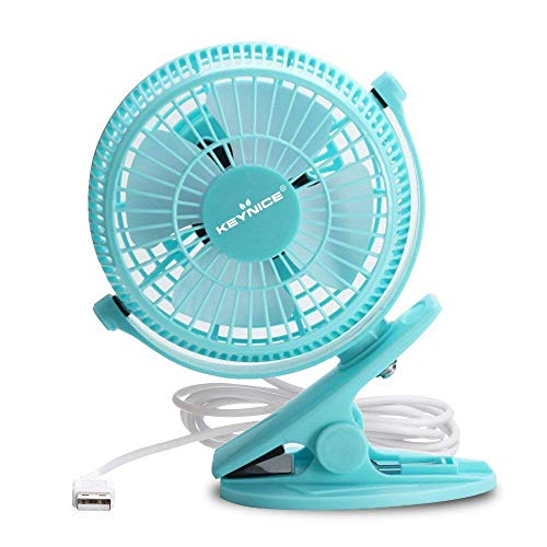 Keynice USB Clip Desk Personal Fan, Table Fans, Clip on Fan, 2 in 1 Applications, Strong Wind, Mini Desk Fan, Small Desktop Fan, 4 Inch 2 Speed Portable Cooling Fan USB Powered by Net Book, PC - Blue