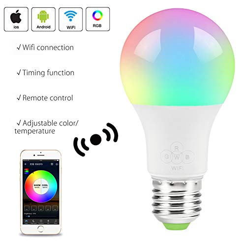WiFi Smart LED Bulbs, Dimmable, Multicolor, Wake-Up Lights, No Hub Required, Compatible with Alexa/Google Home with GU24 to E27 Adapter