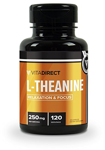 VitaDirect Premium Pure L-Theanine Capsules 250 mg (Theanine), 120 Vegetarian Capsules, Non-GMO, Gluten Free (250 150 Capsules Mg)