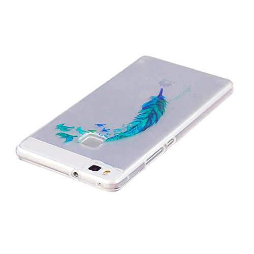 Funda Huawei P9 Lite, P9 Lite Funda Silicona, SpiritSun Soft Carcasa Funda para Huawei P9 Lite (5.2 pulgadas) Ultra Delgado y Ligero Flexible TPU Caja Trasparente Carcasa Case Cristal Gel Protectora C Pluma