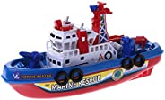 Kamonda Fast Speed Music Light Electric Marine Rescue Fire Fighting Boat Toy for Kids Boat
