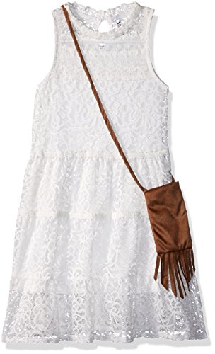 Beautees Girls' Big Victorian Lace Dress, White, 12 ()