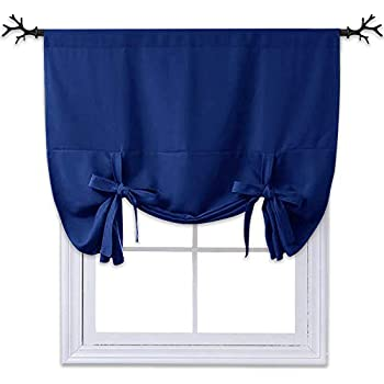 nicetown balloon shades blackout curtain adjustable thermal insulated tie up. Black Bedroom Furniture Sets. Home Design Ideas