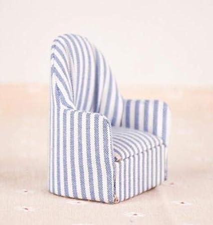Nuoyi Dollhouse Furniture Miniature Doll Navy Stripe Sofa,Living Room Doll Alternate Stripes of Blue White Mini Sofa