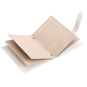 Novadeal PU Leather Book Style Jewellery Box Ear Studs Earrings Storage Organiser Case – New Beige