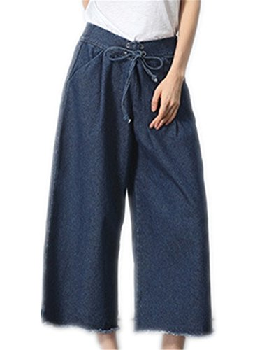 Youtobin Fashion Light Blue Horn Wide Leg Women Casual Holes Cropped Jeans (US 0-2 = Label M, Dark - Beckham Victoria Where Buy To