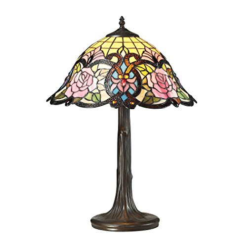 Manhattan Collection Rosedale Tiffany Glass Table Lamp in Tiffany (Rosedale Metal)