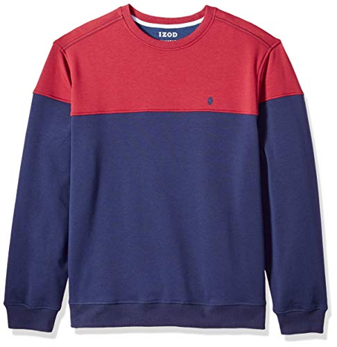 IZOD Mens Advantage Performance Color Block Crew Fleece