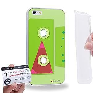 Case88 [Apple iPhone 5 / 5s] Gel TPU Carcasa/Funda & Tarjeta de garantía - Art Fashion Compact Cassette Lime 2616