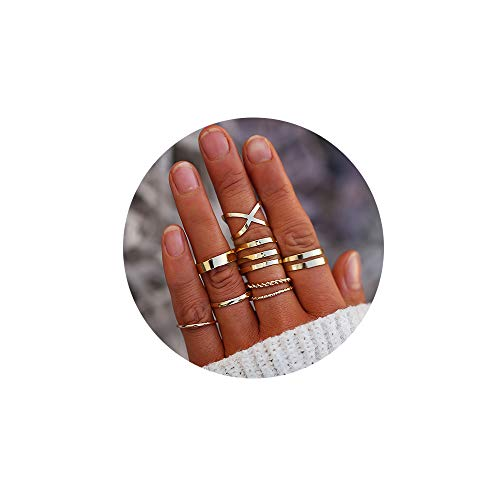 FINETOO 8 PCS Midi Ring Set Simple Knuckle Vintage Gold for Women/Girl Finger Stackable Rings Set DIY Jewelry Gifts (Mens Rings Size Gold)