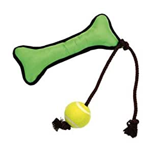 Coastal Pet 88010 R GRNDOG Bone and Ball Toy, 14-Inch, Green