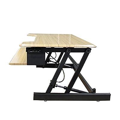 "Dland Standing Desk 37"" Adjustable Folding Hand-Levers Lift Table Monitor Stander Converting Office Desk Workstation for Computers Laptops PC, Teak"