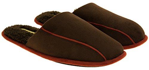 Hombre Coolers zapatillas acolchadas traseras acolchadas de la mula del ante del faux Marrón