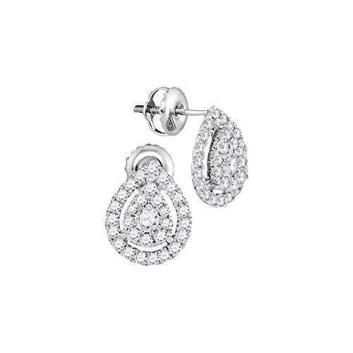 Gold Womens Round Diamond Teardrop Stud Earrings 3/4 Cttw (I1 clarity; G-H color) ()