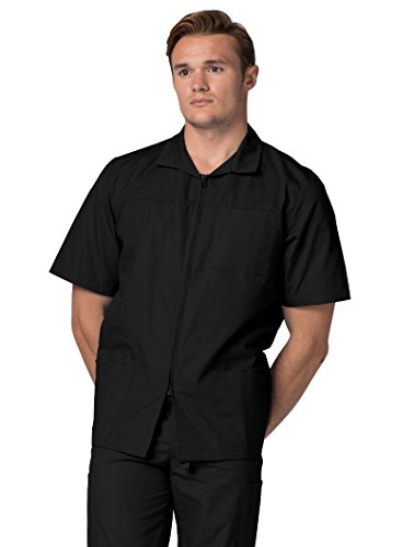 Adar Universal Men's Zippered Short Sleeve Jacket (Available in 7 colors) - 607 - Black - 2X by ADAR UNIFORMS (Image #3)