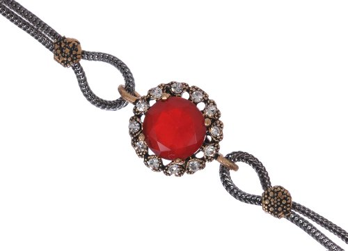 Antique Floral Round Shape Ruby Gemstone Stud Diamond Accent Silver Plated Two Chain Blood Red Hurrem Sultan Style Vintage Bracelet