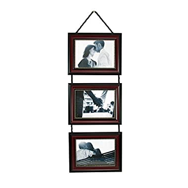 Kiera Grace Horizontal Lucy Collage Picture Frames on Hanging Ribbon (Set of 3), 4 x 6 Inch, Dark Brown with Gold Beading