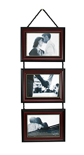 Kiera Grace Horizontal Lucy Collage Picture Frames on Hanging Ribbon (Set of 3), 5 x 7 Inch, Dark Brown with Gold Beading