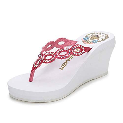 JORCOKA Ladies Ultra High Wedges Flip Flops Crystal Slippers Peacock Eye Shoes Summer Beach Sandals Beige