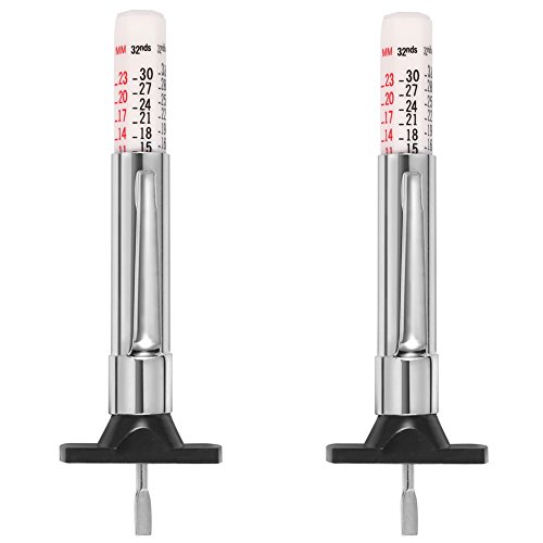 VanFn Tire Tread Depth Gauge, Color Coded Tread Depth Tire Gauge (2PCS - White)
