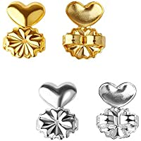 Yellow Chimes 2 Pair Earring Lifters Lobe Lifts/support Back Ear Lifter by Yellow Chimes Gold Plated Stud Earrings for Women (Gold, Silver)