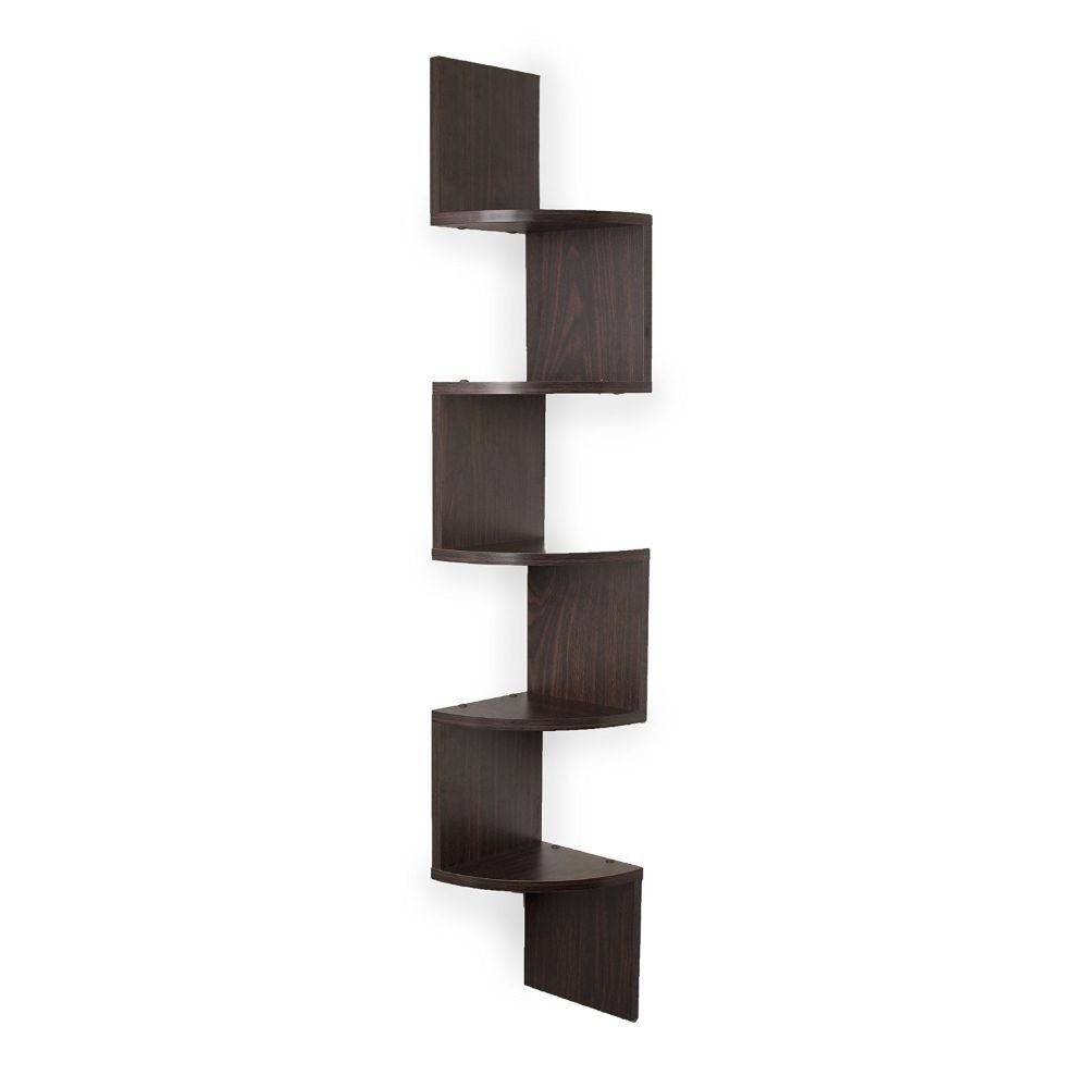 Amazon.com: Danya B. Large Corner Wall Mount Shelf - Walnut: Home & Kitchen