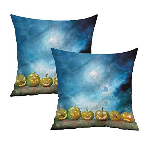 Khaki home Halloween Square Body Pillowcase Pumpkins on Wood Table Square Funny Pillowcase Cushion Cases Pillowcases for Sofa Bedroom Car W 18