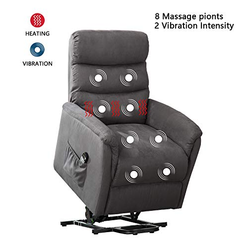 ANJ Power Lift Recliner Chair with Massage,Heat and Vibration - Living Room Chair - Gray ()