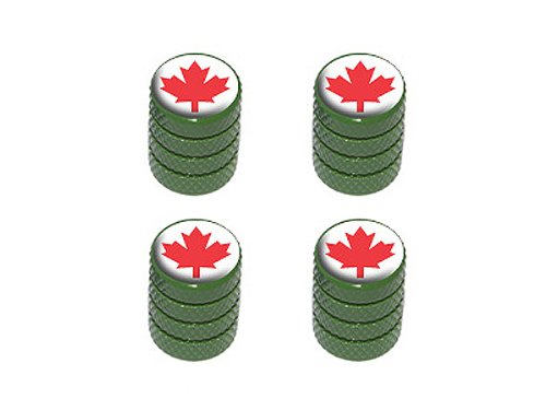 Canada Maple Leaf - Tire Rim Valve Stem Caps - - Rim Leaf Green
