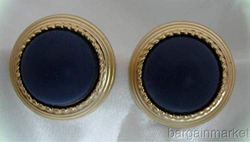 - LUCITE Blue Gold Light Button Post Pierced Earrings For Women