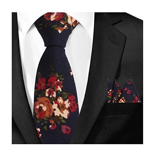 - Men Navy Red Cotton Tie Set Handkerchief Neckwear Suit Necktie Pocket Square Set