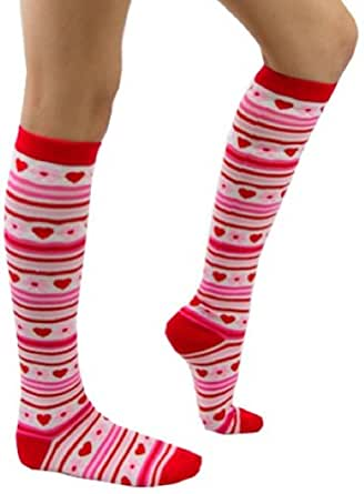 ToBeInStyle Women's Patterned Knee Hi Socks w/ Flower & Hearts - One Size - Pink w/ Stripes and Hearts