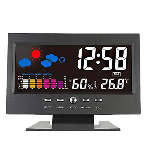 Price comparison product image Wireless Weather Station,  Multifunctional Alarm Clock with Indoor Temperature humidity for Home Bedroom Office