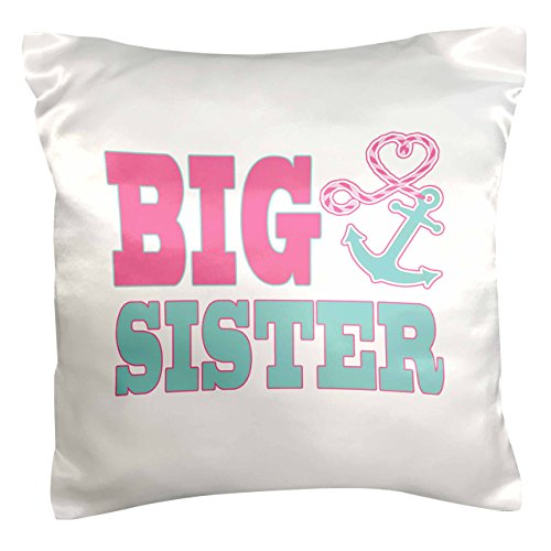 3dRose PC _ 165882_ 1Big Sister lindo ancla y cuerda de corazón rosa y Aqua funda de almohada, 16' x 16'