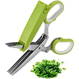 Herb Scissors, X-Chef Multipurpose Herb Shears with 5 Stainless Steel Blades and Cover