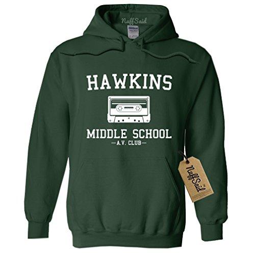Hawkins Middle School AV Club Hoodie/Hooded Sweatshirt Sweater - Unisex Fit (Medium, Forest Green)