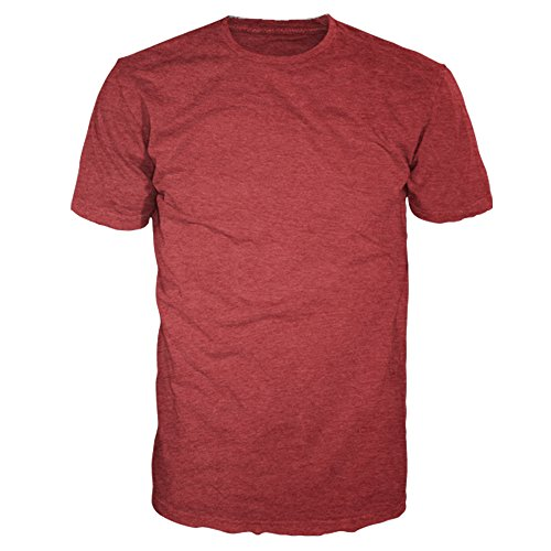 (Men's Signature Collection - Casual Premium Soft Cotton Short Sleeve T-Shirts Classic Crew Neck Style by Four Seasons Design (3X, Heather Red))