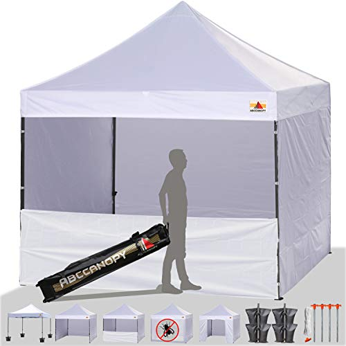 ABCCANOPY 20+ Colors 10-Feet by 10-Feet Festival Steel Instant Canopy, Commercial Level, with Wheeled Storage Bag, 6 Removable Zipper End Walls, Bonus 4X Weight Bag (White)
