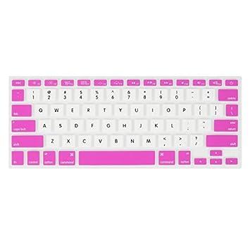 eDealMax Fucsia Blanco de la película protectora de la piel del teclado Para Apple MacBook Air