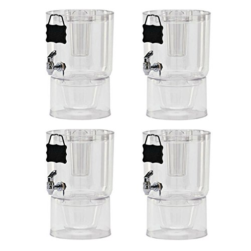 Buddeez Cold Beverage Dispensers (Set of 4), 1.75 gallon, Clear (Iced Serving Bowl)