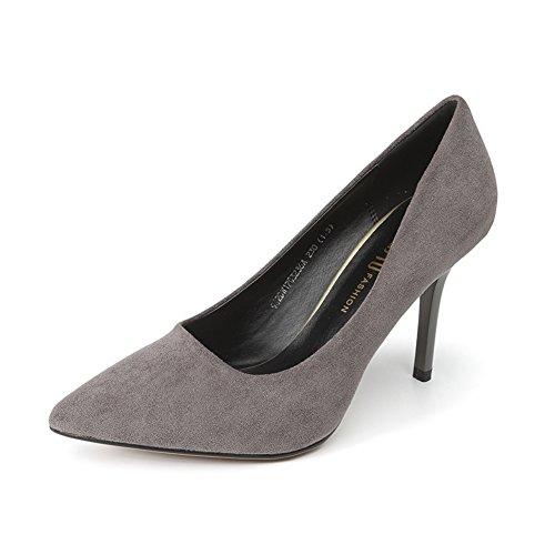 PUMPS Damen High Heels,Fine Heel Flacher Mund Spitze Schuhe-B Fußlänge=21.8CM(8.6Inch)