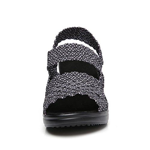 HKR Women Peep Toe Sandals Block High Heel Platform Comfort Ladies Slip On Woven Sandles Strap Mary Jane Sandal Shoes Grey Dots hGfGG