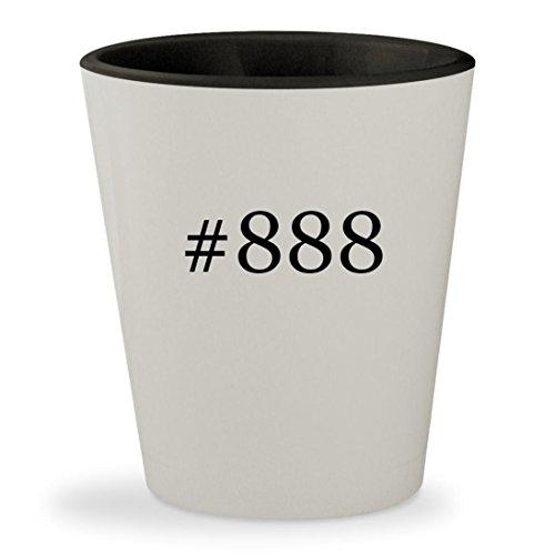 #888 - Hashtag White Outer & Black Inner Ceramic 1.5oz Shot Glass