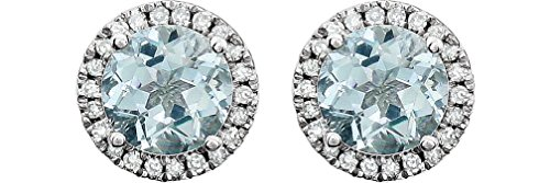 Aquamarine and Diamond Halo Button Earrings, Rhodium-Plated 14K White Gold (.13 Cttw, Color HIJ, Clarity I1-I2) by The Men's Jewelry Store (for HER)