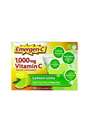Emergen-C Vitamin C Fizzy Drink Mix, 1000 mg, Lemon-Lime, 0.3 Ounce Packets, 30-Count (Vitamin C Lemon)