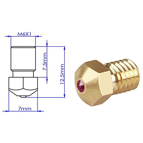TOOGOO 3D Printer Accessories Ruby Nozzle 1.75Mm for Petg Abs Pei Peek