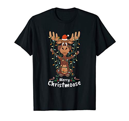 Merry Christmoose Christmas Moose Xmas Tree Lights Gift T-Shirt