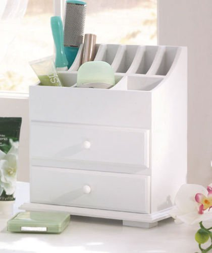Simply Simily Vanity and Storage Beauty Organizer with Two Drawers, White